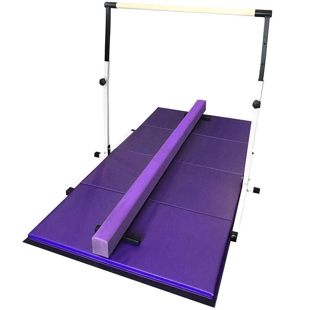 White  and Purple Gymnastics Bar Beam and Mat Set  unique design