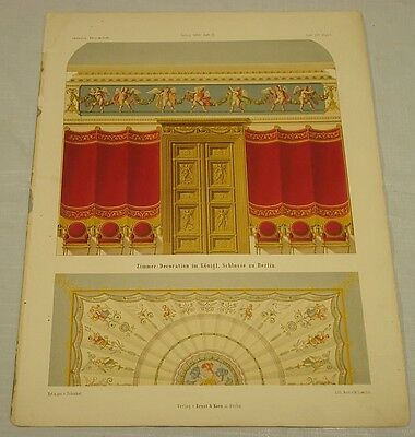 Art 1868 Antique Print//room Decorations In A Palace In Berlin//p61