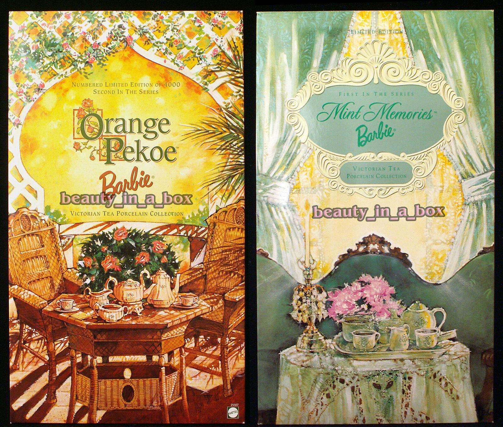 naranja Pekoe menta muñeca Barbie recuerdos Victoriano Porcelana De Té Certificado de Autenticidad Lote 2 nunca quitado de la Caja