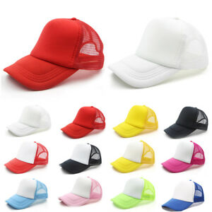 Hot-Plain-Baseball-Cap-Solid-Trucker-Mesh-Blank-Curved-Visor-Hat-Adjustable-New
