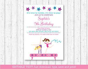Image Is Loading Gymnastics Birthday Invitation Printable Editable PDF