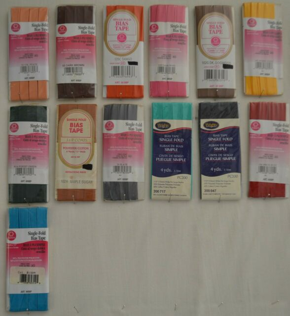 """C/&C Bias Tape Single Fold-1//2/"""" w x 4 yds 104 Great colors to choose!!! Wrights"""