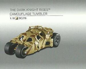 01:18 Hot Wheels Batmobile Le Chevalier Noir S'élevant Verre De Camouflage Art Bcj76