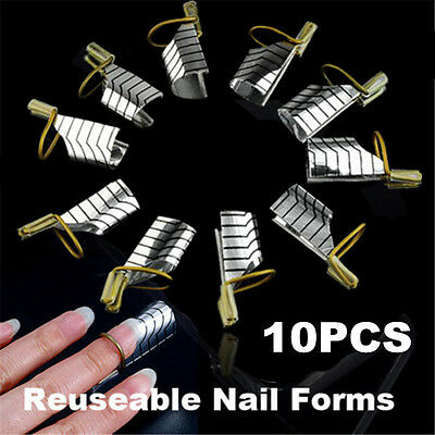 10 Pcs Reusable UV Gel Acrylic French Nail Art Tips Extension Guide Form Tool