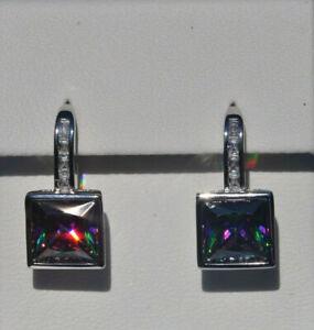 Echt-925-Sterling-Silber-Ohrringe-Quadrat-Zirkonia-mystic-topas-Hochzeit-Nr-257