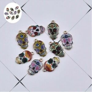 DIY-Jewelry-Charm-Mixed-Color-22-12mm-10X-Sugar-For-Pendant-Enamel-Skull