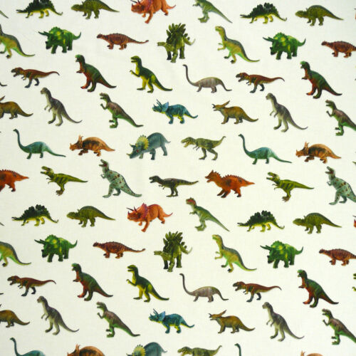 De coton tissu Dekostoff Digital Pression Dinosaure blanc coloré