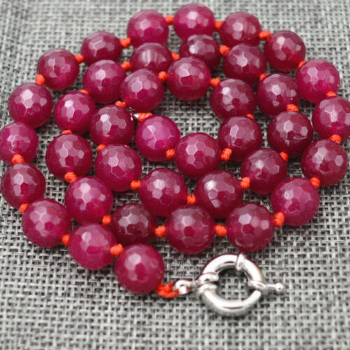 """8//10//12mm Natural Faceted Brazil Rose Red Ruby Gemstone Round Beads Necklace 18/"""""""