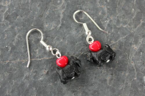 Black or White Scotty Dog earrings tiny dogs /& red hearts silver plated hooks