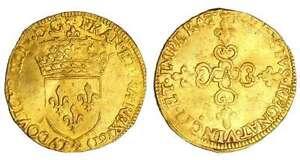 France-Louis-XIII-1610-1643-Ecu-d-or-frappe-au-marteau-1615-A-Paris
