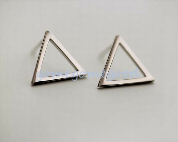 925 Sterling Silver -Korea Trendy Hollow Triangle Lady Party Stud Mini Earrings
