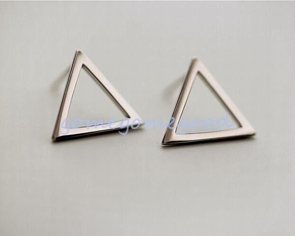 925 Sterling Silver -Korea Trendy Hollow Triangle Lady Party Stud Mini Earrings