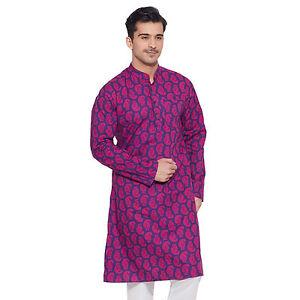 2019 DernièRe Conception Hommes Manches Longues Designer Indian Cotton Long Kurta Casual Wear Imprimés K 2853-afficher Le Titre D'origine La DernièRe Mode