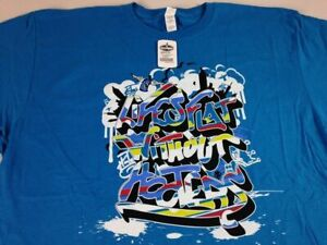 Life's Flat Without Hooters T-Shirt Blue Street Art Graffiti Mens XL Beer NEW