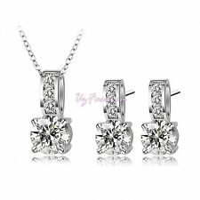 Silver Diamante Rhinestones Crystal Wedding Necklace Set with Earrings