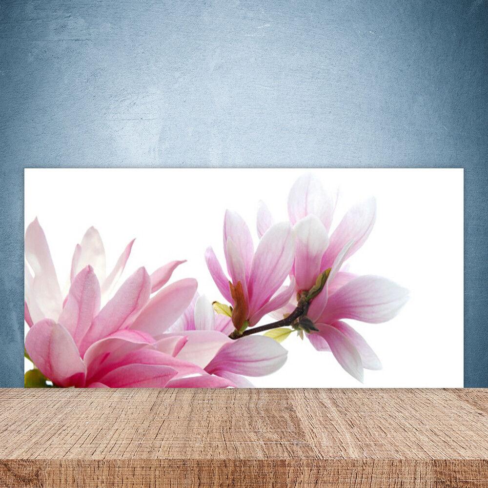 Crédence de cuisine en verre Panneau Paroi 100x50 Floral Magnolia Fleurs