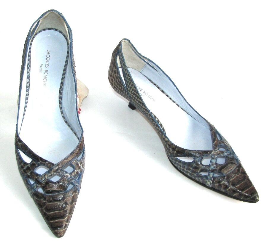 JACQUES BENCHE - shoes PETITS TALONS ASPECT REPTILE brown 37 - TB ETAT