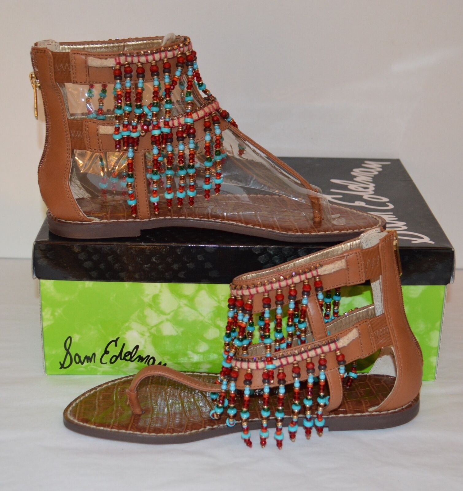 New 130 Sam Edelman Gabriel Saddle Braun Leder 8 Sandale Bead Thong Boho 8 Leder 477c8e