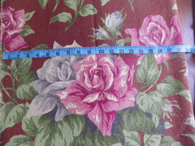"""VINTAGE BARKCLOTH FABRIC-DEEP PINK- FLORALS-THICK TEXTURE-UNUSED-39.5"""" BY 120"""""""