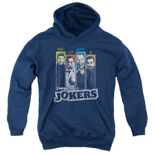 Impractical Jokers Kids Hoodie Cast Slides Navy Hoody