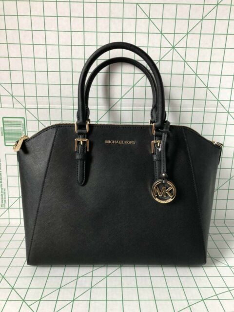 Nwt Michael Kors Ciara Large Black Saffiano Leather Satchel Bag