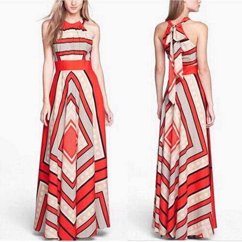 Women Summer Boho Long Maxi Evening Party Long-Dress Beach Dresses Sundress TFSU