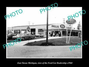 OLD-LARGE-HISTORIC-PHOTO-OF-EAST-TAWAS-MICHIGAN-THE-FORD-CAR-DEALERSHIP-c1960