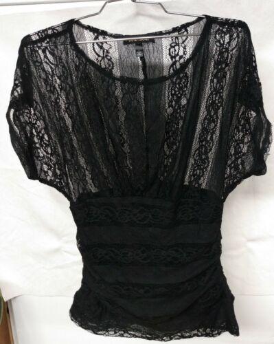 Heart Soul Womens Juniors Black Lace Pleated Blous