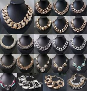 Statement Necklace Chains Collier Bracelet Blogger Chunky Fashion Jewellery New