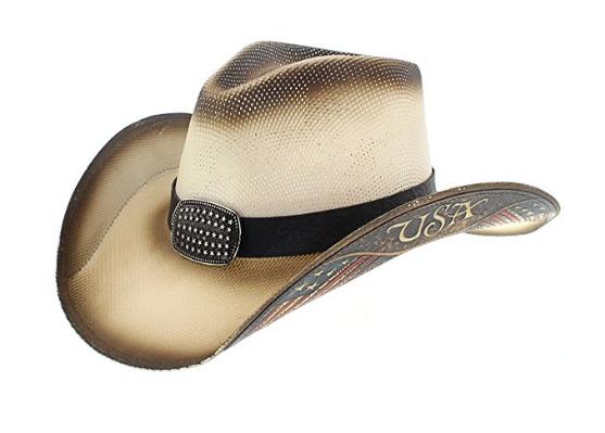 Dallas Hats DaSie Herren Cowboyhut Liberty 1 Strohhut Flagge USA