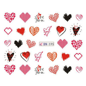 Nail Art Water Decals Stickers Transfers Valentines Day Love Hearts