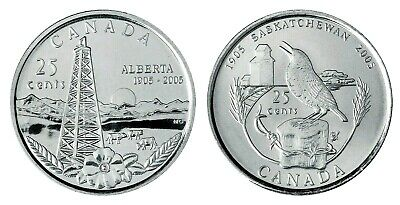 CANADA 2005P 100th ANNIVERSARY OF SASKATCHEWAN  25 CENTS UNC FROM ROLL