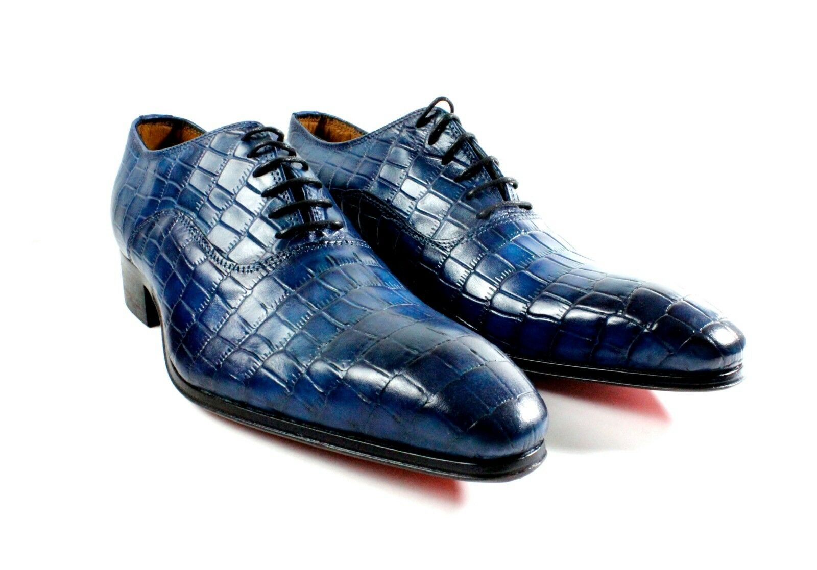 IVAN TROY Pelle Blue Crocodile  Handmade Uomo Italian Pelle TROY Dress Shoes/Oxford Shoes 21f4b4