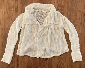 Lucky-Brand-Womens-Shrug-Sweater-Lace-Open-Front-Cardigan-Cream-Knit-Size-S