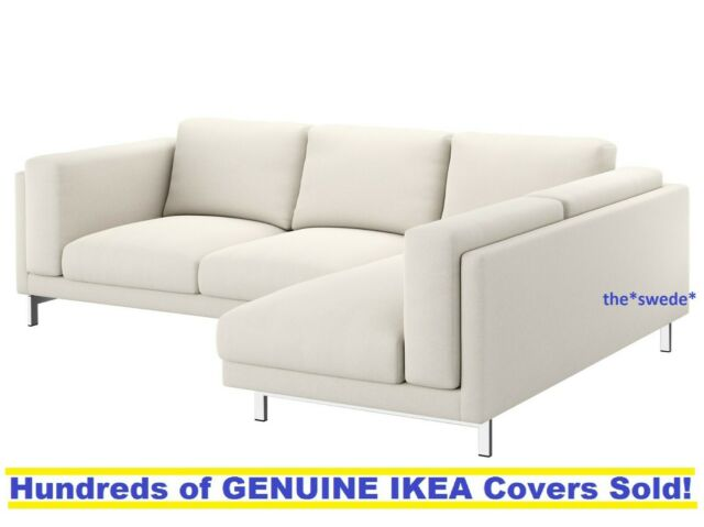 Ikea Nockeby Sofa With Chaise Right Cover Slipcover Tallmyra Light Beige New