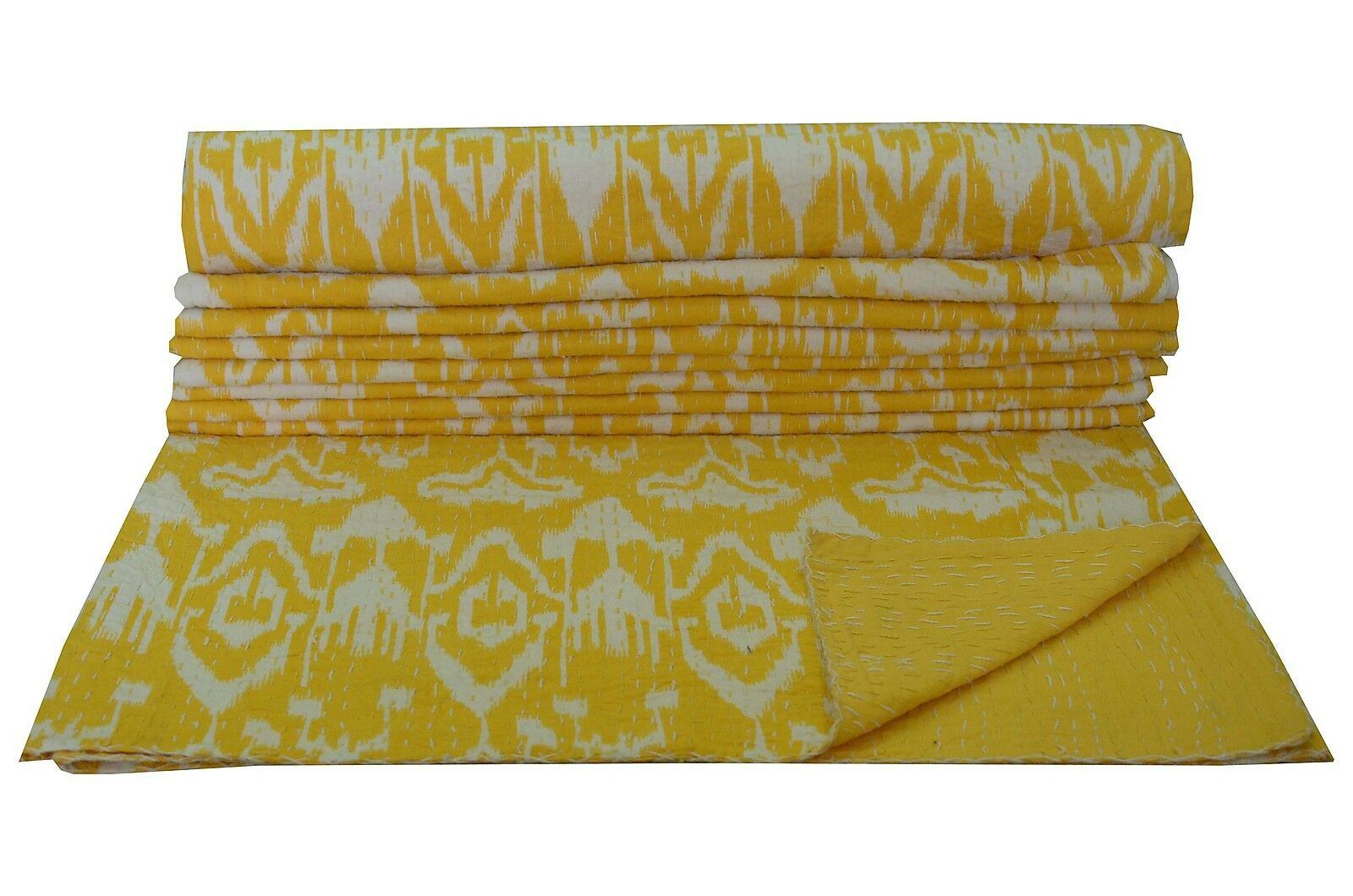 Yellow ikat Kantha Quilt Queen Size Bed Spread Bed Cover Indian Throw Handmade