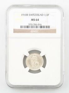 1910-B Switzerland 1/2 Franc Silver Coin Slabbed MS 64 NGC Graded Swiss KM 23