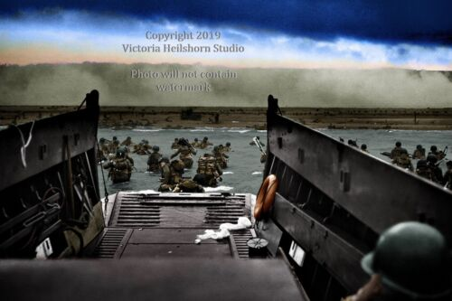Normandy 6 Sizes! New Colorized Photo Poster D-Day Landing at Omaha Beach