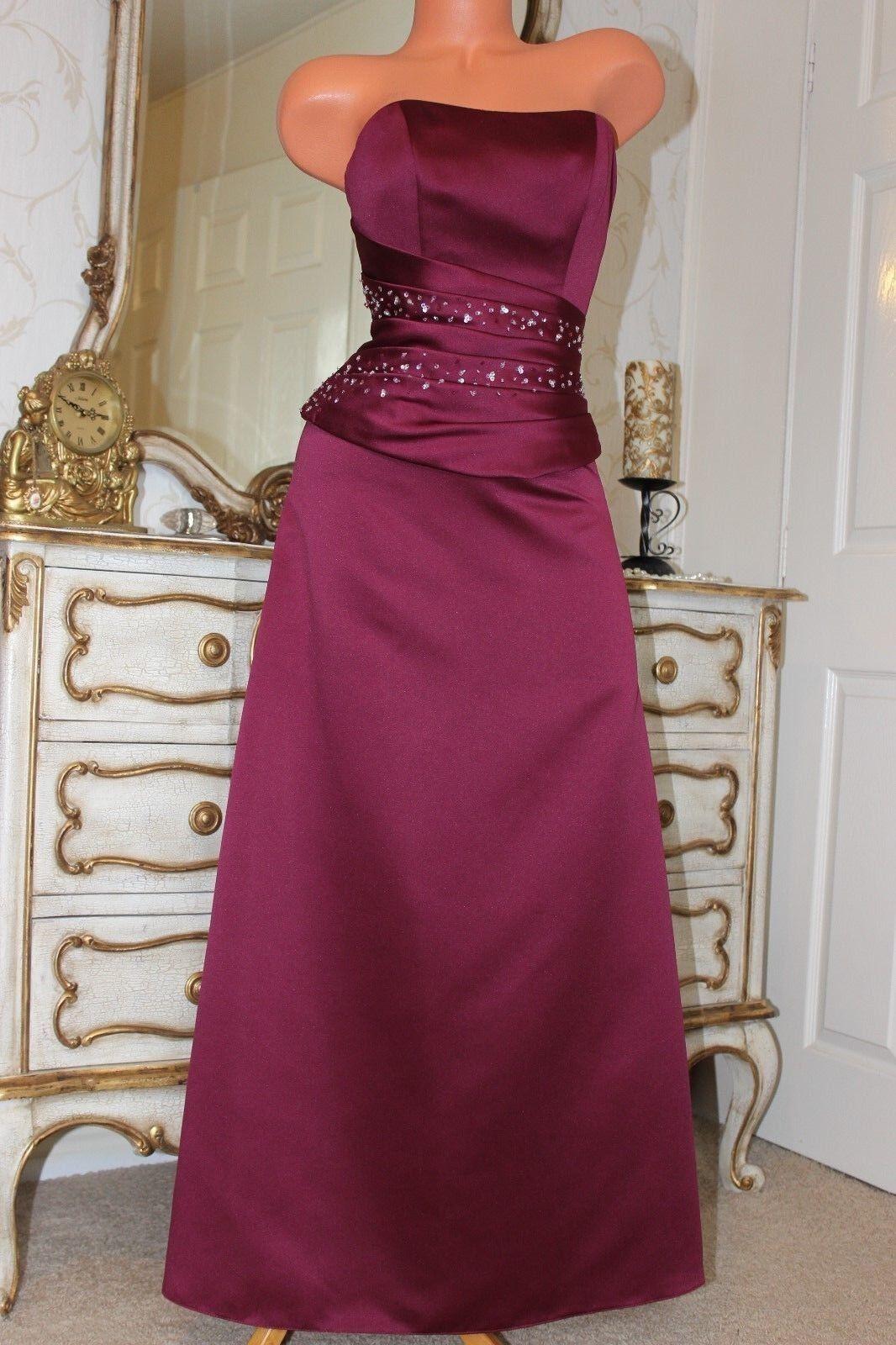 Alexia Designs vino rosso ecopelle raso Donna Completamente Foderato Festa Abito da sera Taglia 10