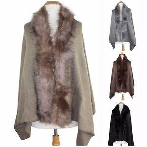 Women's Luxury Faux Fur Trim Cape Poncho Shawl Wrap Cloak Coat