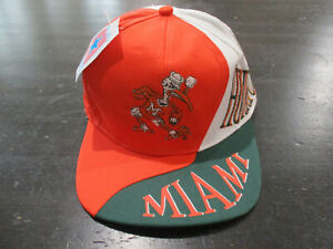 NEW-VINTAGE-Miami-Hurricanes-Hat-Cap-Orange-Green-UM-Football-Mens-90s