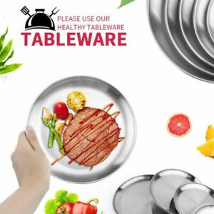Stainless-Steel-Plate-Dish-Round-Food-Dinner-Camping-Picnic-Metal-Tableware