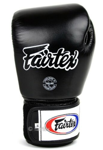 Details about  /Gloves Black White Muay Thai Boxing Super Sparring Locked Thumb Fairtex Bgv1