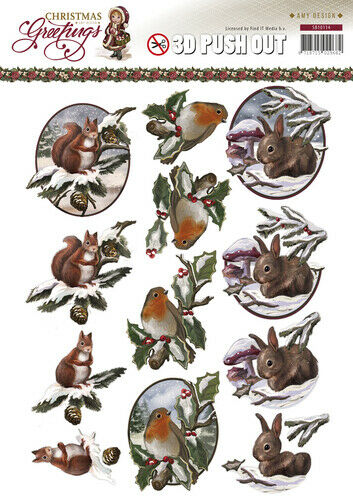 3D-Stanzbogen Tiere im Winter Christmas Greetings  von Amy Design SB10114