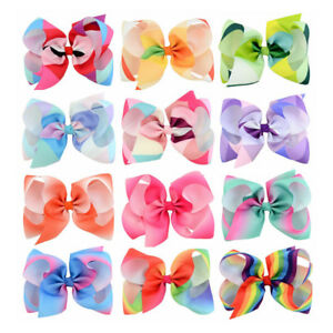 Womens-and-Girls-Gradient-Color-Big-Bow-Decor-Hair-Pin-Clip-Headwear-Accessories