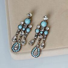 Boucles d`Oreilles Clous Doré Chandelier Long Perle Turquoise Bleu Retro X11