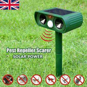 1/2/4x Solar LED Ultrasonic Garden Deterrent Repeller Animal Bird Dog Cat Scarer