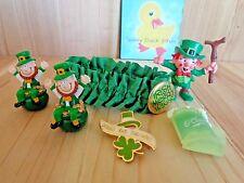 Vintage IRISH ST PATRICK'S DAY Lot 6 Pieces Figurines Garter Lapel Pins GREEN