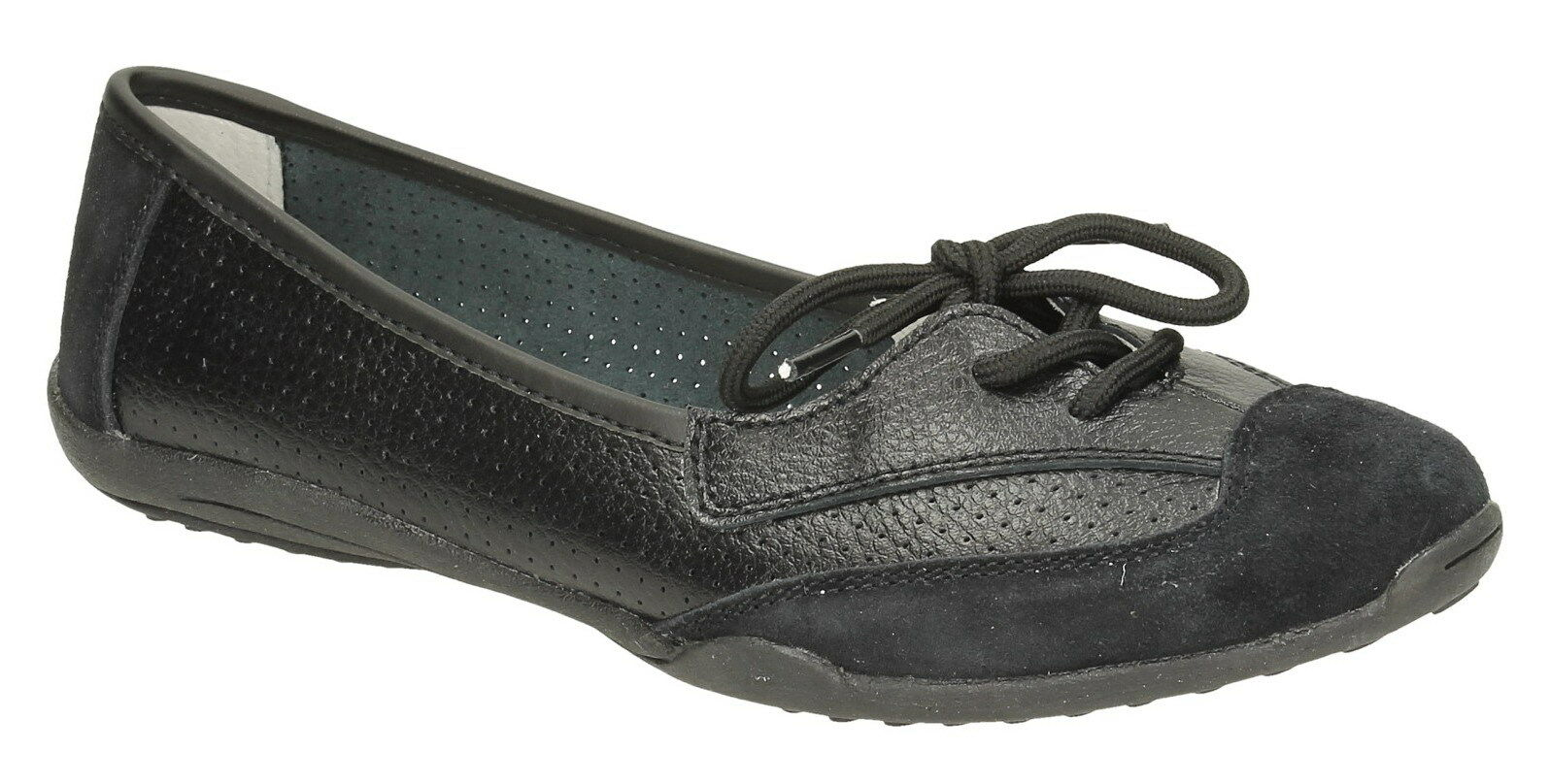 Down To Earth F8R0220 Ladies Black Lace Up Leather Casual Comfort shoes
