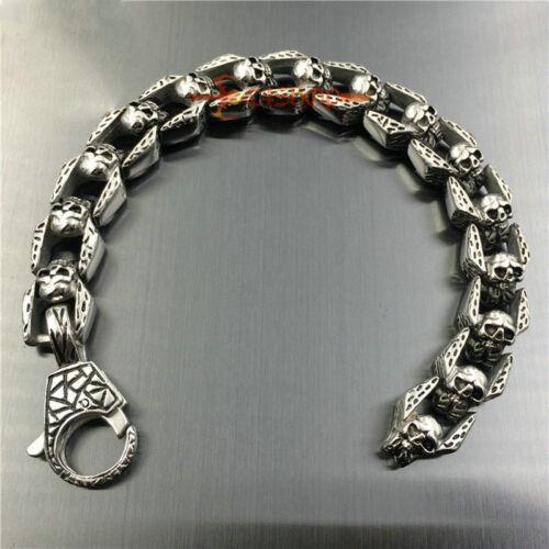 Acier inoxydable Crânes Cuban Link Bracelet Gothique Rocker Biker Men/'s Bracelet